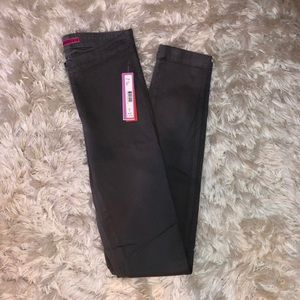 Alice + Olivia Front Zip Leather Jeggings Grey
